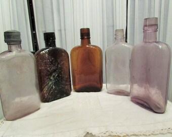 lot of 5 antique flasks