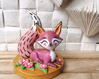 Handmade Fox, Purple and Gold, Fox Art, MADE TO ORDER