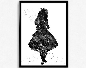Alice in Wonderland Inspired, Alice, Black and White Watercolor, Tale, Poster, Kids Room Decor, gift, Print, Wall Art (26)