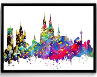 Cologne Skyline, German City Travel, Home Decoration, City Skyline, Colorful Watercolor Poster, Room Decor, gift, Print, Wall Art (839)