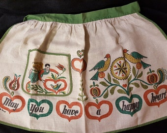 Vintage Apron ,  Wert by hand ,  Vintage half apron , Apron with pocket , Pennsylvania Dutch Birds Print ,  Half Apron , Retro Apron , Angel