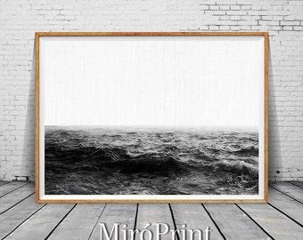 Black and White Ocean, Ocean Print, Waves, Water, Coastal Wall Decor, Beach Art, Large Printable Poster, Digital Download, Modern Minimalist