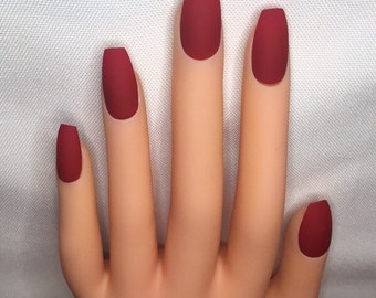 Blood Red Press On Nails l Red Fake Nails l Red False Nails l Red Glue On Nails
