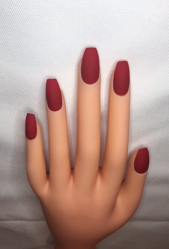 Blood Red Press On Nails L Red Fake Nails L Red False