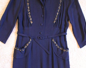 Vintage Dress - 1940's Dress - Rayon 1940's Dress - WW2 Wartime -