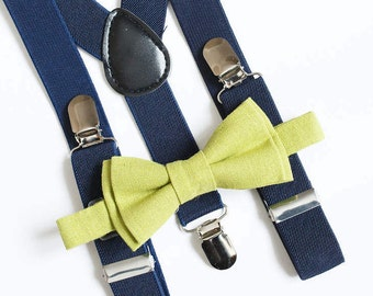 Ring bearer outfit Lime Green Linen Bow tie and Navy Blue suspenders Boys bow ties Boys suspenders Linen bowtie Wedding outfit