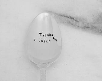 Thanks a latte, coffee spoon, teacher appreciation, mothers day spoon