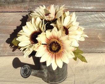 Cream Sunflower Rustic Watering Can Neutral Fall Arrangement Spring Flowers Arrangement