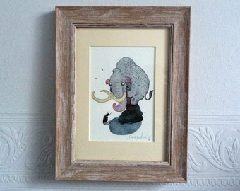 Woolly Mammoth art print, A Mammoth Problem Illustration print, kids room, home decor