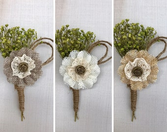 Rustic Burlap Flower Boutonniere Corsage, Brown Green Boutonniere, Button Boutonniere,  Baby's Breath Boutonniere, Twine Wrapped Boutonniere