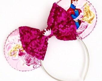 The Sleeping Princess - Handmade Disney Aurora Inspired Mouse Ears Headband CHOOSE YOUR BOW