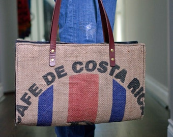 Coffee Bean Tote Handbag Leather Interior Burlap Upcycled Coffee Bean Sack Large Purse Tote