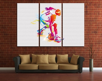 Large Wall Basketball Canvas Color Sport Multipanel Canvas Basketball Canvas Art Large NBA 1 or 3 Panels Sport Print