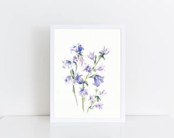 Watercolor Valentine, Original Watercolor Flowers Painting, watercolor florals, Watercolor Bluebells Painting, Valentines Day Art, Honeymoon