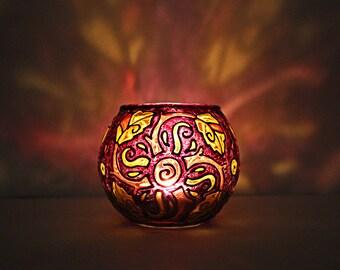 Spiral Leaves Candle Holder / Glass Votive Candle Holder / Candleholder / Tealight Holder / Glass Votive Holder / Meditation Gift / Wedding
