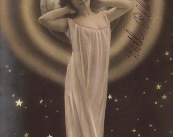 The Cosmic Nymph… 1904 Original Antique French RARE Hand Tinted Photo Postcard Art Nouveau Whimsical Galactic Rising Star Surreal Universe