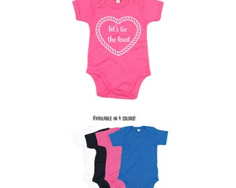 Baby proposal romper, let's tie the knot romper, engagement romper, marriage proposal romper, marry me romper, baby marriage romper, heart