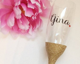 Glitter Champagne Glasses//Bridesmaid Champagne Glasses//Bridesmaids Gifts//Glitter Dipped//Personalized Champagne Glasses