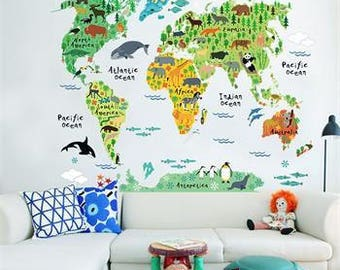 Colorful World Map Wall Sticker, Wall Decal, Vinyl Wall Decal, Wall Decor, Nursery Wall Decal, Kids Wall Decor, Educational Nursery Decal