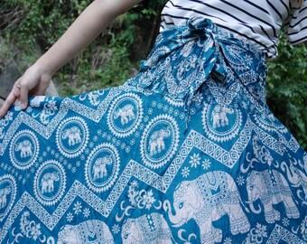 Green skirt Elephant skirt Gypsy skirt Elephant clothes Bohemian skirt Hippie skirt Boho clothes Tribal clothing