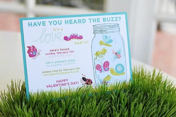 Love Bug Party Invitation Printable PDF 5 X 7 Valentines Day