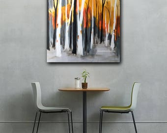 PRINT birch aspen trees abstract contemporary yellow orange acrylic painting wall art home interior decor Shweta Patil Free shipping USA