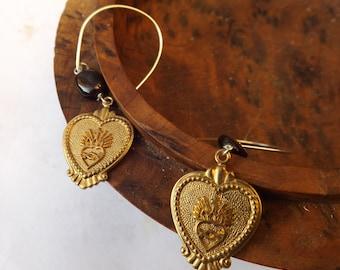 Flaming heart earrings, religious jewellery, Jesus Christ, vintage earrings, vintage metal, brass hearts, garnet earrings, sterling silver