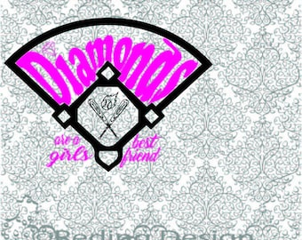 Diamonds are a Girls Best Friend Baseball SVG DXF Digital Cutting Files