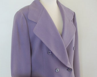 "90's Elegant, Double Breasted Jacket. Lavender Color, Côtelé Fabric, 2''Below Hip Length, M/L Size, Designed by""Jacque Vert""Made in England"