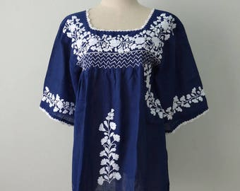Mexican Blouse, Blue Blouse with Hand Embroidery