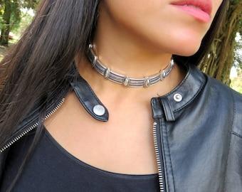 Choker Necklace, Metal Choker Necklace, Bohemian Choker Necklace, Boho Collar Choker, Link Chain Choker, Boho Necklace, Fashion Jewelry