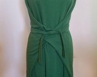Green Wool Wrap Dress, Green Wool Sweater Dress, Sweater Dress, wool dress, green dress, wrap dress, wool wrap dress, green wrap dress, wool