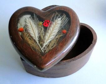 Vintage, Heart Shaped, Wooden, Box, Ladybug, Dried Flowers, Trinket Box, Home Decor