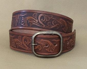 """Men's Leather belt, dads leather gift, medium brown belt, belt for dad, belt for him, genuine leather belt, 1 1/2"""" wide, embossed longhorns"""
