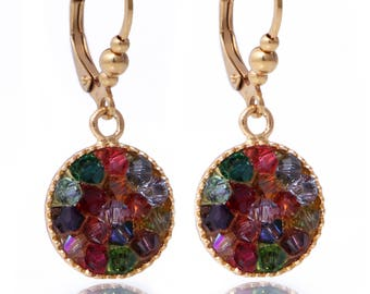 Hypoallergenic dangle earrings/ colorful Swarovski crystal mix/ Surgical steel