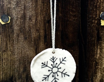 Large Snowflake Ornaments, Snowflake Ornament, Gifts for Skiers, Unique Handmade Christmas Ornaments, White Ceramic Ornaments