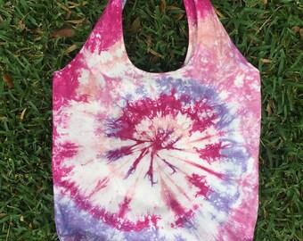 SALE Foldable market tote bag / Handmade tie dye