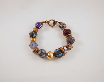 "Bracelet ""BOLLYWOOD"" BLUE and brass"