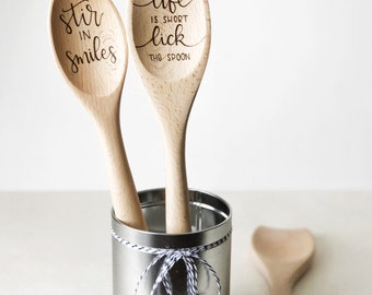 Custom Wooden Spoon | Beech | Wood Burned | MADE TO ORDER