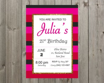 Kate Spade Invitation, Birthday Invitation for her, women, adult, girl, Bridal Shower invitation, birthday invite for 21st/30th/40th/16th