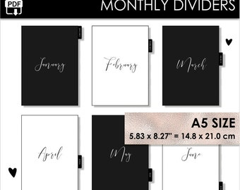 A5 Monthly Dividers Minimalist Black White Planner Filofax Websters Pages Kikki K Large Inserts 12 Month Tabs Year Arc Planner Pdf PRINTABLE