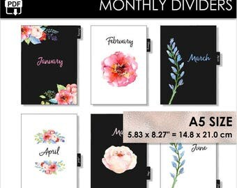 A5 Monthly Dividers Black Pink Planner Filofax Websters Pages Kikki K Large Inserts 12 Month Tabs Year Arc Planner Flowers Pdf PRINTABLE