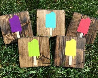 Mini Popsicle Sign, Summer Decor, Popsicle Decor, Porch Decor