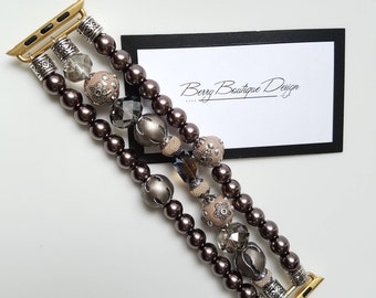 Apple Watch Band, Apple Watch Band 38mm, Apple Watch Band 42mm, Warm Brown Tones accented with Beads