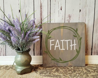 """FAITH Wooden Sign 11.25"""" Square"""