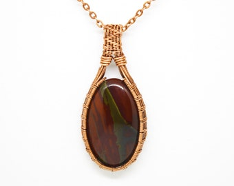 The Power of Success Necklace, Bloodstone Pendant in Copper, Magic Healing Jewelry