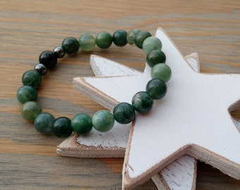 Moss Agate Protection Bracelet, Green Stone Beaded bracelet, Agate Stretchy Bracelet, 8mm Beaded Jewelry