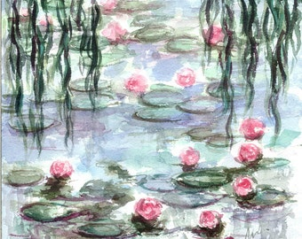 ORIGINAL Watercolor Lily Pond Monet Impressionist Painting Giverny France Small Art Square Hand Painted by Nuuillustrations 20x20 cm