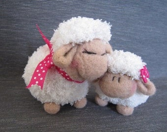 Amigurumi, sheep plushy, crochet animal,mother's day gift, momy and baby,sheep and lamb,fluffy sheep,needle felted,home decor,ready to ship