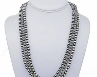 Bead Necklace Three Strand Antiqued Navajo Jewelry